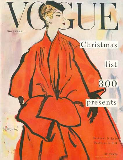 Rene R Bouche Vogue Cover 1953-11-01 Copyright | Vogue Magazine Graphic Art Covers 1902-1958