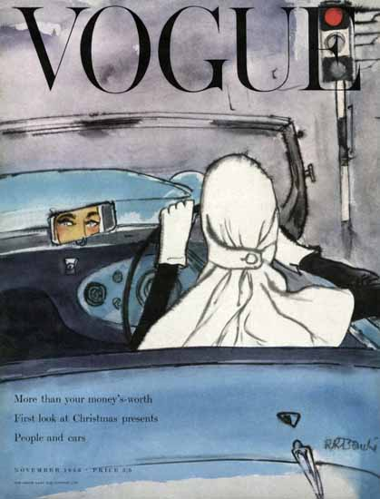 Rene R Bouche Vogue Cover 1953-11 Copyright | Vogue Magazine Graphic Art Covers 1902-1958