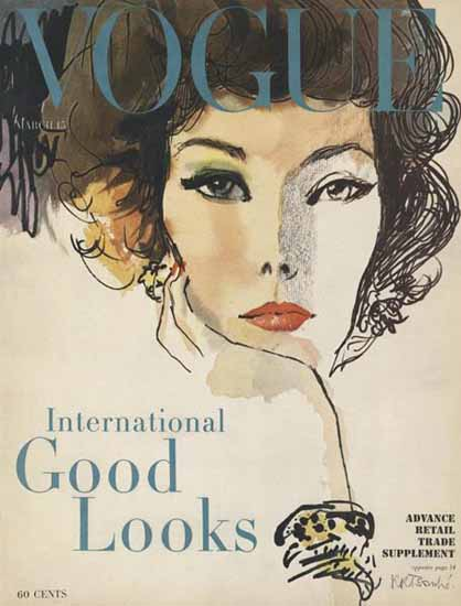Rene R Bouche Vogue Cover 1958-03-15 Copyright | Vogue Magazine Graphic Art Covers 1902-1958