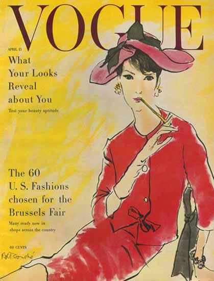 Rene R Bouche Vogue Cover 1958-04-15 Copyright | Vogue Magazine Graphic Art Covers 1902-1958
