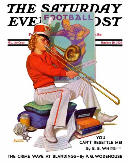 Revere F Wistehoff Saturday Evening Post Trombone Exercise 1936_10_10 | The Saturday Evening Post Graphic Art Covers 1931-1969