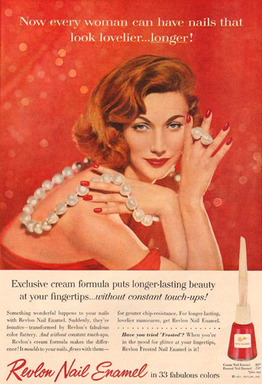 Revlon Nail Enamel Beauty 1957 | Sex Appeal Vintage Ads and Covers 1891-1970