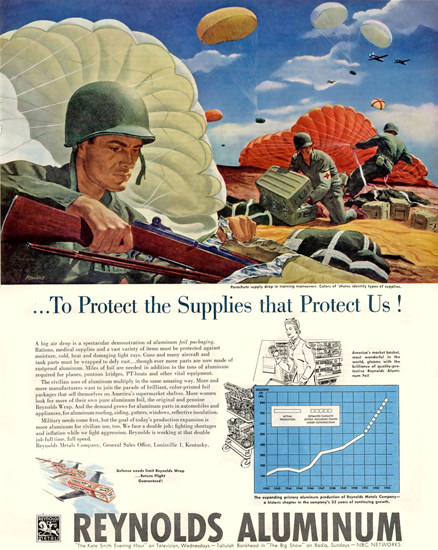 Reynolds Aluminum Protects Us 1952 | Vintage War Propaganda Posters 1891-1970