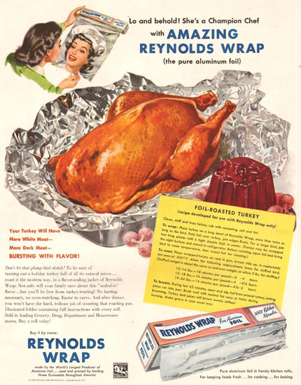 Reynolds Wrap Foil-Roasted Turkey 1950   Vintage Ad and Cover Art 1891-1970