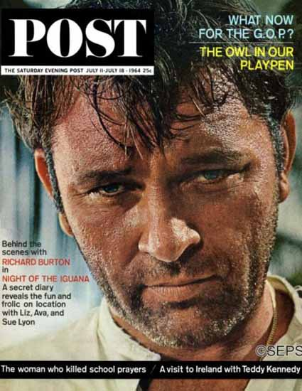 Richard Burton Night of the Iguana Saturday Evening Post 1964_07_11 | Vintage Ad and Cover Art 1891-1970