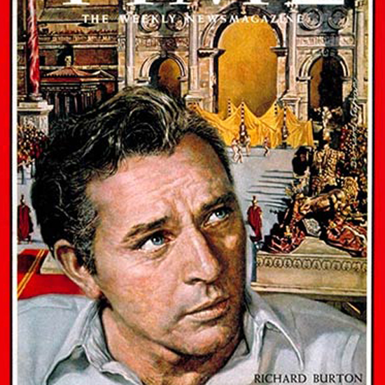 Richard Burton Time Magazine 1963-04 by Bernard Safran crop | Best of Vintage Cover Art 1900-1970