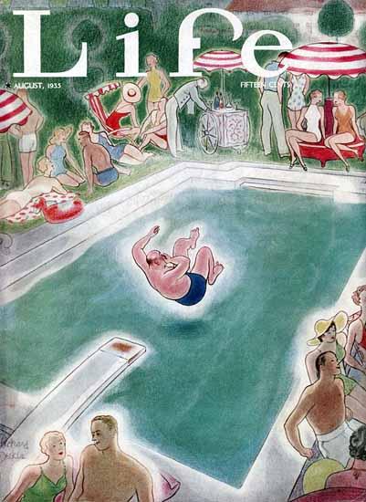 Richard Decker Life Humor Magazine 1935-08 Copyright   Life Magazine Graphic Art Covers 1891-1936