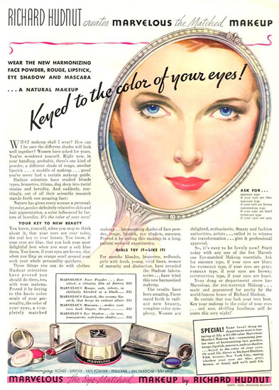 Richard Hudnut Keyed Colors Of Your Eyes 1936 | Sex Appeal Vintage Ads and Covers 1891-1970