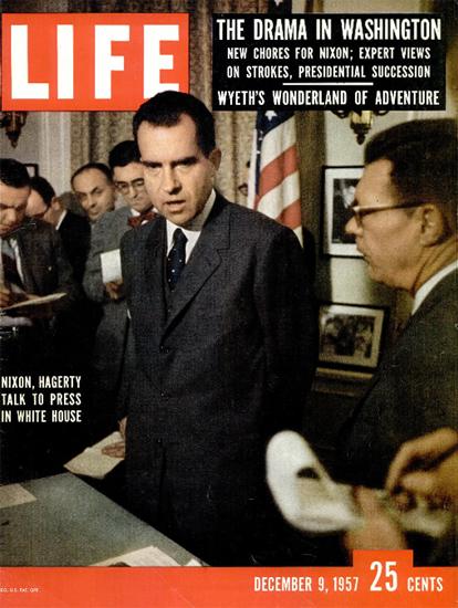 Richard Nixon Press in White House 9 Dec 1957 Copyright Life Magazine   Life Magazine Color Photo Covers 1937-1970