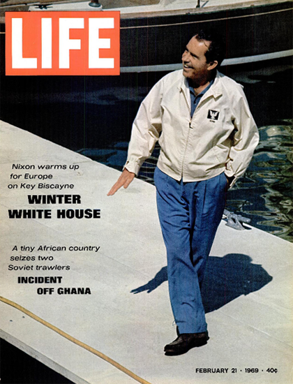 Richard Nixon on Key Biscayne 21 Feb 1969 Copyright Life Magazine | Life Magazine Color Photo Covers 1937-1970