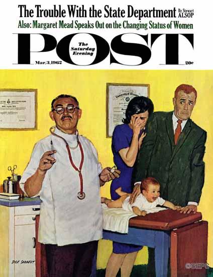Richard Sargent Saturday Evening Post Babys First Shot 1962_03_03 | The Saturday Evening Post Graphic Art Covers 1931-1969