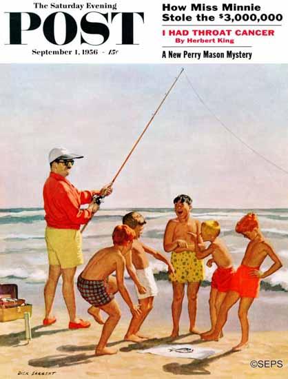 Richard Sargent Saturday Evening Post Big Pole Little Fish 1956_09_01 | The Saturday Evening Post Graphic Art Covers 1931-1969