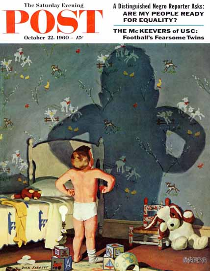 Richard Sargent Saturday Evening Post Big Shadow Little Boy 1960_10_22 | The Saturday Evening Post Graphic Art Covers 1931-1969