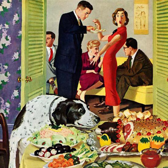 Richard Sargent Saturday Evening Post Buffet 1957_01_05 Copyright crop | Best of Vintage Cover Art 1900-1970