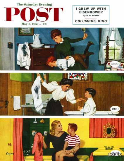 Richard Sargent Saturday Evening Post Child Psychology 1952_05_03 | The Saturday Evening Post Graphic Art Covers 1931-1969