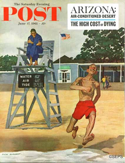 Richard Sargent Saturday Evening Post Cold Water Swimmer 1961_06_17 | The Saturday Evening Post Graphic Art Covers 1931-1969