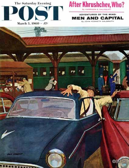 Richard Sargent Saturday Evening Post Cramped Parking 1960_03_05 | The Saturday Evening Post Graphic Art Covers 1931-1969