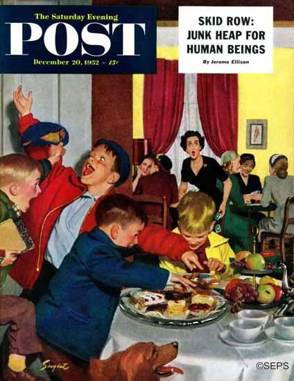 Richard Sargent Saturday Evening Post Crashing Moms Party 1952_12_20 | The Saturday Evening Post Graphic Art Covers 1931-1969