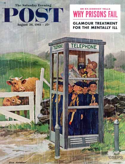 Richard Sargent Saturday Evening Post Cub Scouts in Booth 1961_08_26 | The Saturday Evening Post Graphic Art Covers 1931-1969
