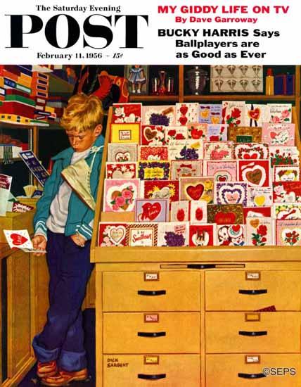 Richard Sargent Saturday Evening Post First Valentine 1956_02_11 | The Saturday Evening Post Graphic Art Covers 1931-1969