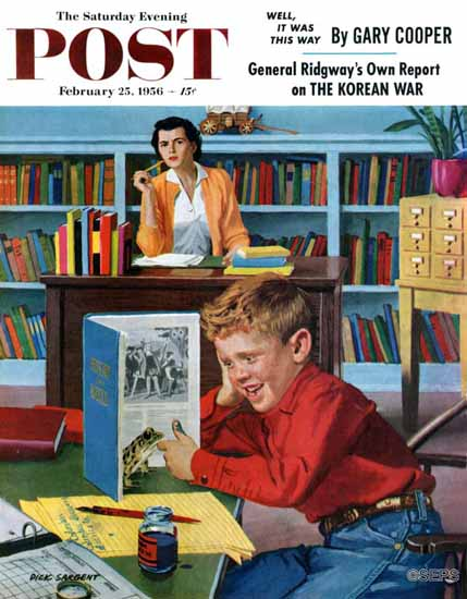 Richard Sargent Saturday Evening Post Frog in the Library 1956_02_25 | The Saturday Evening Post Graphic Art Covers 1931-1969