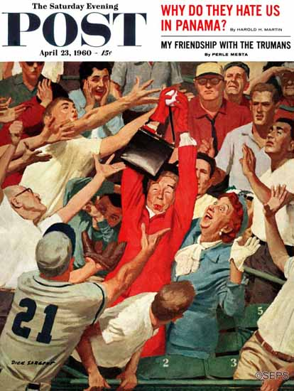 Richard Sargent Saturday Evening Post Grandmas Fly-Ball 1960_04_23 | The Saturday Evening Post Graphic Art Covers 1931-1969