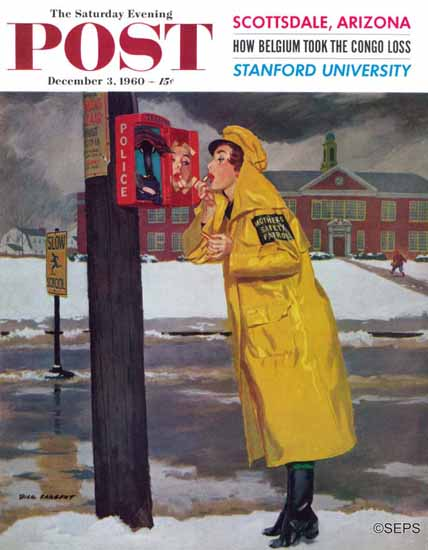 Richard Sargent Saturday Evening Post Guard Fixing Makeup 1960_12_03 | The Saturday Evening Post Graphic Art Covers 1931-1969