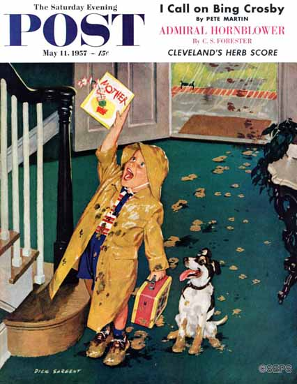 Richard Sargent Saturday Evening Post Happy Mothers Day 1957_05_11 | The Saturday Evening Post Graphic Art Covers 1931-1969