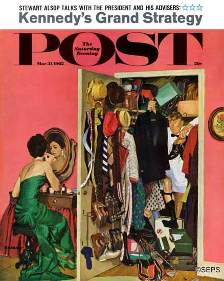 Richard Sargent Saturday Evening Post Hunting Tux for Party 1962_03_31 | The Saturday Evening Post Graphic Art Covers 1931-1969