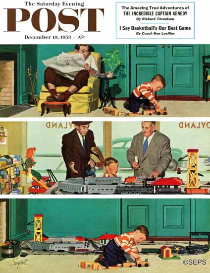 Richard Sargent Saturday Evening Post New Toy Train 1953_12_19 | The Saturday Evening Post Graphic Art Covers 1931-1969