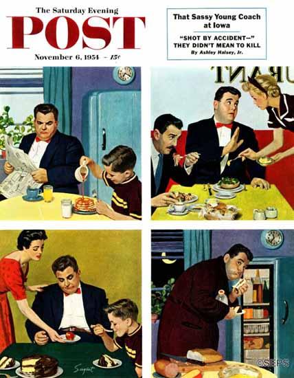 Richard Sargent Saturday Evening Post Night Raid 1954_11_06   The Saturday Evening Post Graphic Art Covers 1931-1969