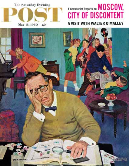 Richard Sargent Saturday Evening Post No Quiet for Daddyo 1960_05_14 | The Saturday Evening Post Graphic Art Covers 1931-1969