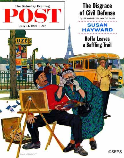 Richard Sargent Saturday Evening Post Parisian Artist Tourist 1959_07_11 | The Saturday Evening Post Graphic Art Covers 1931-1969
