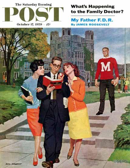 Richard Sargent Saturday Evening Post Picking Poindexter 1959_10_17 | The Saturday Evening Post Graphic Art Covers 1931-1969