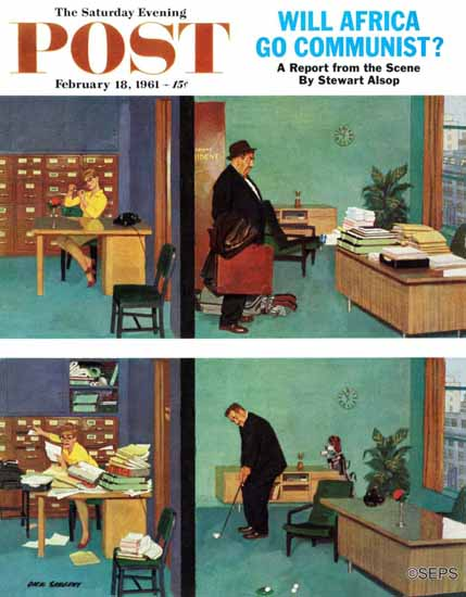 Richard Sargent Saturday Evening Post Putting Time in Office 1961_02_18 | The Saturday Evening Post Graphic Art Covers 1931-1969