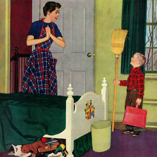 Richard Sargent Saturday Evening Post Room 1955_04_02 Copyright crop | Best of Vintage Cover Art 1900-1970