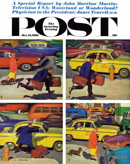 Richard Sargent Saturday Evening Post Rush Hour 1961_10_21 | The Saturday Evening Post Graphic Art Covers 1931-1969