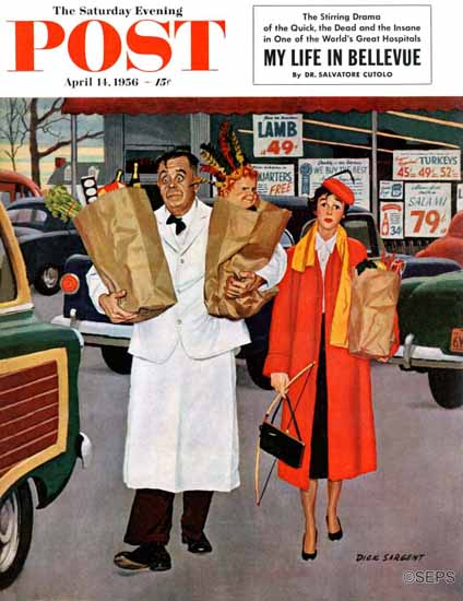 Richard Sargent Saturday Evening Post Sack Full of Trouble 1956_04_14   The Saturday Evening Post Graphic Art Covers 1931-1969