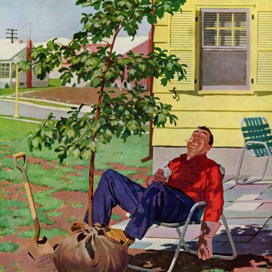 Richard Sargent Saturday Evening Post Shade 1958_04_12 Copyright crop | Best of Vintage Cover Art 1900-1970