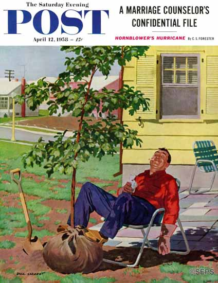 Richard Sargent Saturday Evening Post Shade Tree 1958_04_12 | The Saturday Evening Post Graphic Art Covers 1931-1969