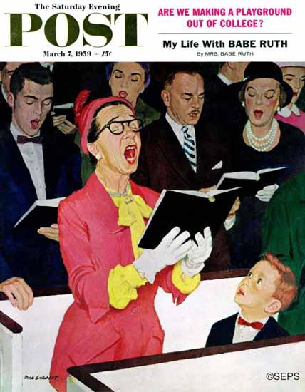 Richard Sargent Saturday Evening Post Singing Praise 1959_03_07 | The Saturday Evening Post Graphic Art Covers 1931-1969