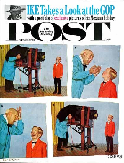 Richard Sargent Saturday Evening Post Smile Photographer 1962_04_21   The Saturday Evening Post Graphic Art Covers 1931-1969