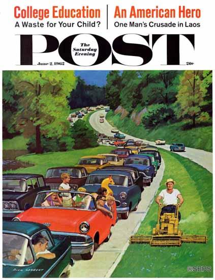 Richard Sargent Saturday Evening Post Speeder on Median 1962_06_02 | The Saturday Evening Post Graphic Art Covers 1931-1969