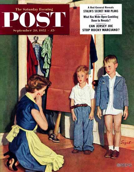 Richard Sargent Saturday Evening Post Suiting Her Sons 1952_09_20 | The Saturday Evening Post Graphic Art Covers 1931-1969