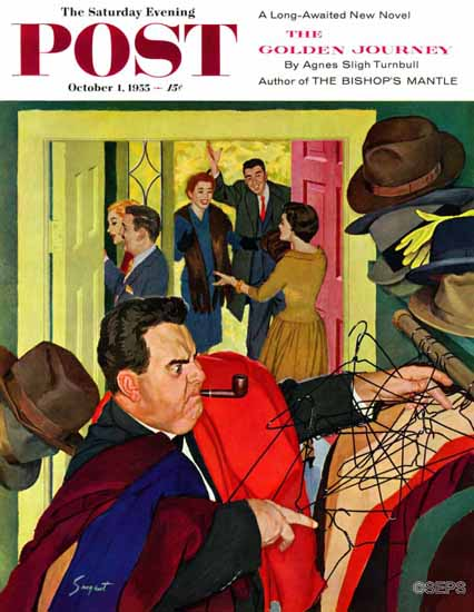 Richard Sargent Saturday Evening Post Tangled Coat Hangers 1955_10_01 | The Saturday Evening Post Graphic Art Covers 1931-1969