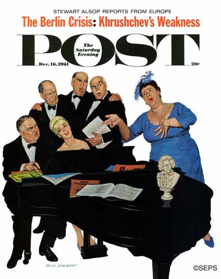 Richard Sargent Saturday Evening Post The Fat Lady Sings 1961_12_16 | The Saturday Evening Post Graphic Art Covers 1931-1969