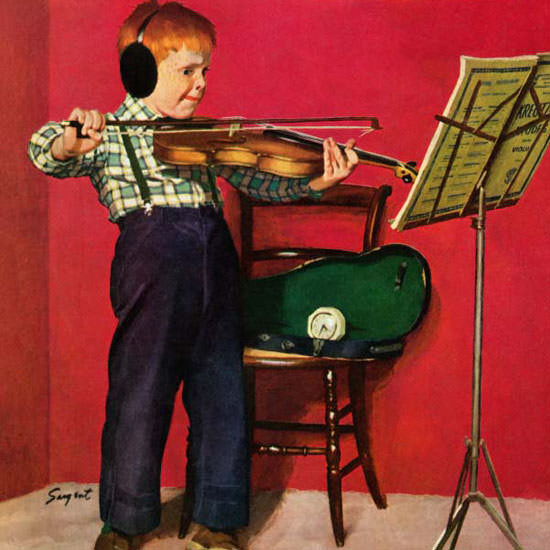 Richard Sargent Saturday Evening Post Violin 1955_02_05 Copyright crop | Best of 1950s Ad and Cover Art