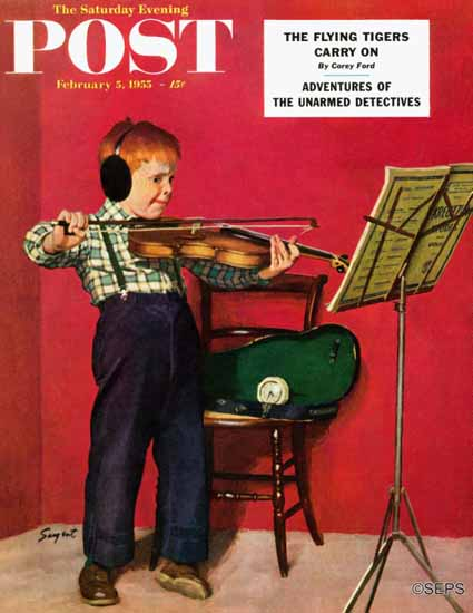 Richard Sargent Saturday Evening Post Violin Practice 1955_02_05 | The Saturday Evening Post Graphic Art Covers 1931-1969