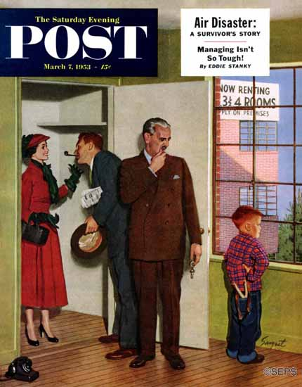 Richard Sargent Saturday Evening Post Worried Rental Agent 1953_03_07 | The Saturday Evening Post Graphic Art Covers 1931-1969