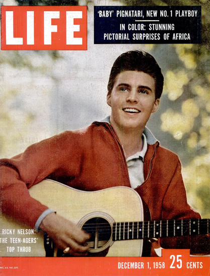 Ricky Nelson thrums the Guitar 1 Dec 1958 Copyright Life Magazine   Life Magazine Color Photo Covers 1937-1970